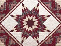 Red and Cream Lone Star Log Cabin Quilt