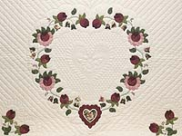 King Dark Green and Rose Heart of Roses Quilt