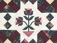 Dark Green Burgundy and Tan Tulip Medley Quilt