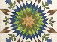 King Gold Blue and Green Starburst Quilt