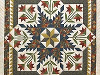 King Green Navy and Golden Tan Blooming Star Quilt