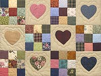 King Navy and Burgundy Hearts and Nine Patch Quilt