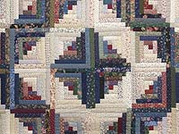 Navy Burgundy and Multi Log Cabin Quilt