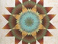Golden Tan Aqua and Multicolor Radiant Star Quilt