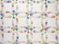 Extra Fine Pastel Double Wedding Ring Quilt
