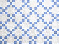 Blue and Cream Nine Patch Quilt
