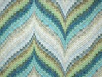 King Hand Painted Teal Blue and Green Bargello Flame Quilt