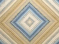 Tan Blue and Cream Postage Stamp Color Splash Quilt