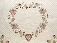 King Dusty Rose Green and Cream Heart of Roses Quilt