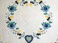 King Blue and Yellow Heart of Roses Quilt