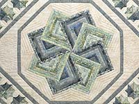 Batik Neutrals and Green Star Spin Quilt