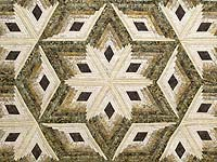 Batik Earthtones Diamond Star Log Cabin Quilt