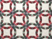 Rose and Green Double Wedding Ring Quilt