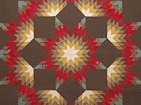 King Paisley Teal Crimson and Brown Broken Star Quilt