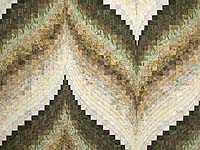 Hand Painted Greens Gold and Cream Bargello Flame Quilt