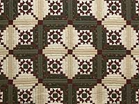 Dark Green Burgundy and Cream Stars in the Cabin Quilt