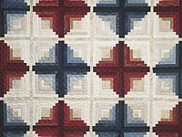 Blues and Reds Log Cabin Variation Quilt