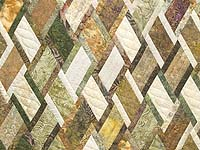 King Batik Green Gold and Cream Diamond Jubilee Quilt