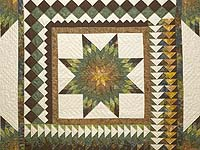 King Gold Green and Brown Star Quest Quilt