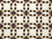 Rose Green and Tan Double Wedding Ring Quilt