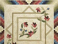 Neutrals Burgundy Blue and Green Rainbow Reflections Quilt
