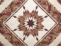 Rose and Cream Lone Star Log Cabin Quilt