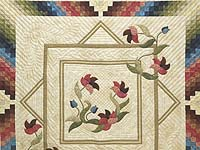 King Neutrals Burgundy Blue and Green Rainbow Reflections Quilt