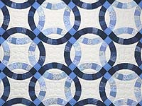 Blue Navy and Cream Double Wedding Ring Quilt