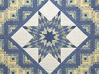 King Blue and Golden Yellow Lone Star Log Cabin Quilt