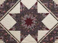 Rose Burgundy and Cream Lone Star Log Cabin Quilt