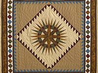 King Gold Burgundy and Teal Mariner's Compass Quilt