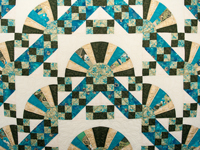 Teal and Gold Jacob's Ladder Fan Quilt