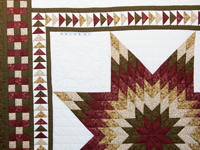 Sage, Brick and Gold Lone Star Flying Geese Quilt