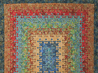 Batik Blooming Nine Patch  Quilt