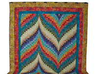 Hand Painted Greens, orange, red, blue Bargello Flame Quilt