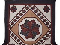 Queen Navy Burgundy and Tan Star Spin Quilt
