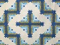Blue and Yellow Colorado Log Cabin Quilt
