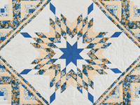 Blue and Yellow Gold Lone Star Log Cabin Quilt