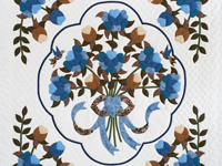 Blue and Coffee Brown Floral Bouquet Quilt