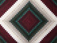 Spruce/Burgundy and Ivory/Gray Trip Around the World Colorsplash Quilt