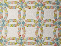 Pastel Double Wedding Ring Quilt King Size