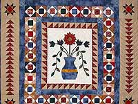 Blue Tan and Multi Pitcher of Flowers Quilt