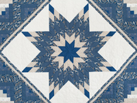 Blue and Tan Log Cabin Lone Star Quilt