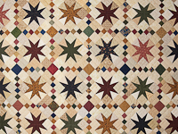 Queen Burgundy Golden Tan and Multi Stepping Through the Stars Quilt