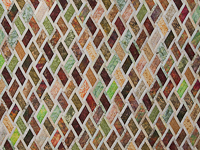 Batik Rust Green Gold and Cream Diamond Jubilee Queen Bed Quilt