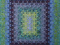 Batik Blooming Nine Patch Queen Size Quilt