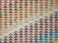 Hand Painted Rainbow Pyramid Quilt Queen Size