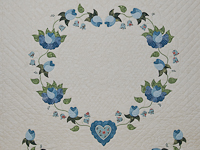 Soft Blue and Green Heart of Roses Quilt in Queen