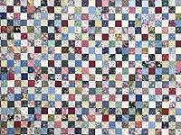 Navy Burgundy and Multicolor Hit or Miss Quilt