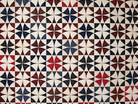 Vintage Navy Blue Burgundy Creams Winding Ways Quilt Queen Size